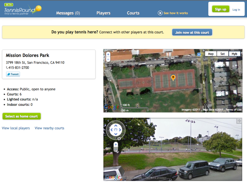 Dolores park in San Francisco - tennis court areal and street view
