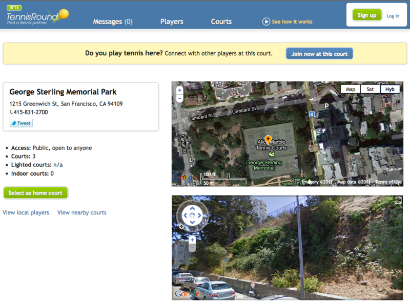 George Sterling Memorial Park on Tennis Round