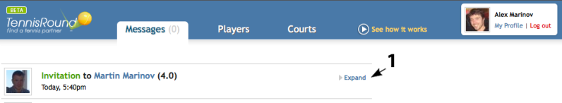 tennis invitation messaging system
