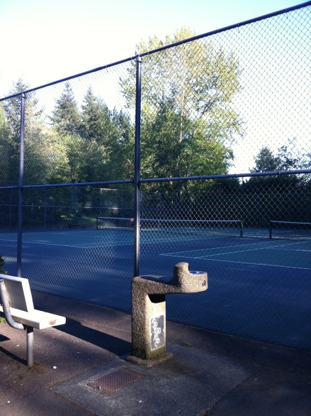 Hillaire Park tennis courts water fountain