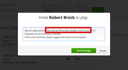 tennis invite actual time