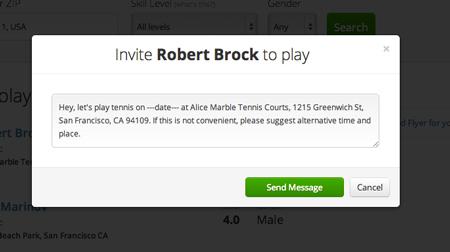 tennis invite default text