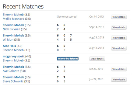 match history and recent tennis games