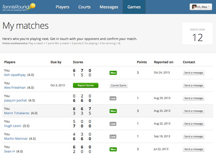 my matches and scores tennis round