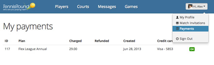 my payments - tennis round